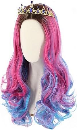 Vamei Audrey Parrucca per Donna Bambina Parrucca Cosplay Lunga Riccia Blu Rosa Parrucca per Halloween Carnevale