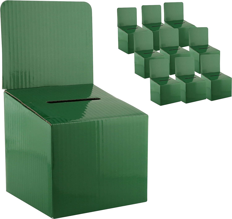MCB - Medium Cardboard Box - Ballot Box - Suggestion Box - Raffle Box - Ticket Box - with Removable Header for Tabletop Use (10 Pack, Green)