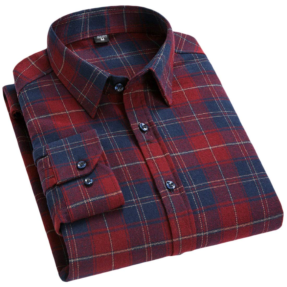 Nicelly Men Flyaway Casual Loose Oversize Plaid Tees Polo Shirts