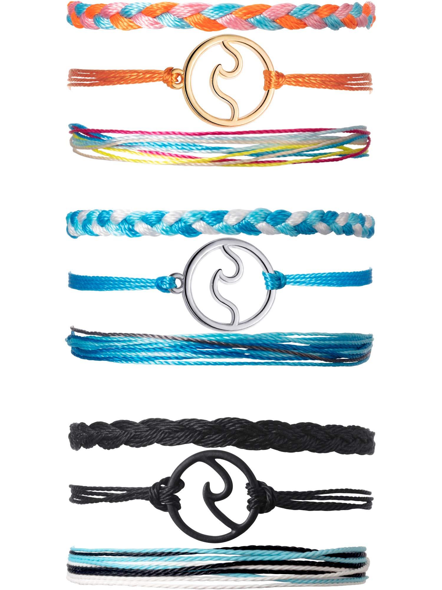 Chuangdi 3 Sets Wave Bracelet Braided Rope Bracelet Set Adjustable Friendship Bohemian Handmade Bracelet Waterproof for Women Men (Color 3) by Chuangdi