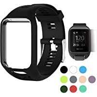 TUSITA WristBand for TomTom Runner 2 3/Spark/Spark 3/Golfer 2/Adventurer, Replacement Silicone Band Strap Accessory (Black)