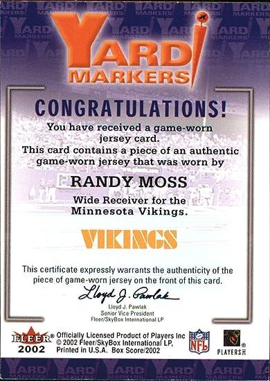 detailed look 95595 a40da 2002 Fleer Box Score Yard Markers Jerseys #15 Randy Moss ...