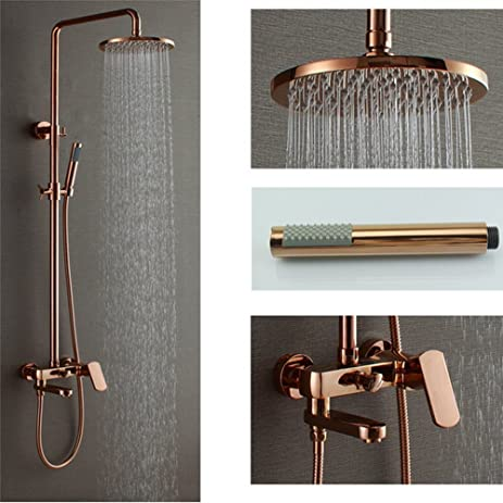 HOMEDEC Bathroom Shower Faucet Set 8u0026quot; Rain Shower Head With Brass Handheld  Shower ...