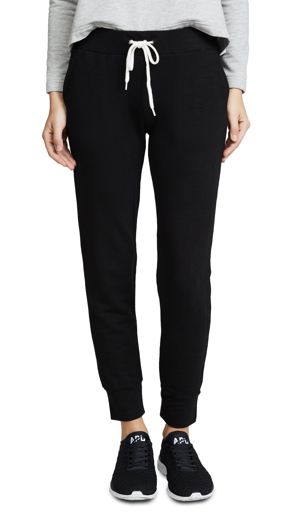 Monrow Women's Super Soft Sporty Sweatpants, Black, Medium