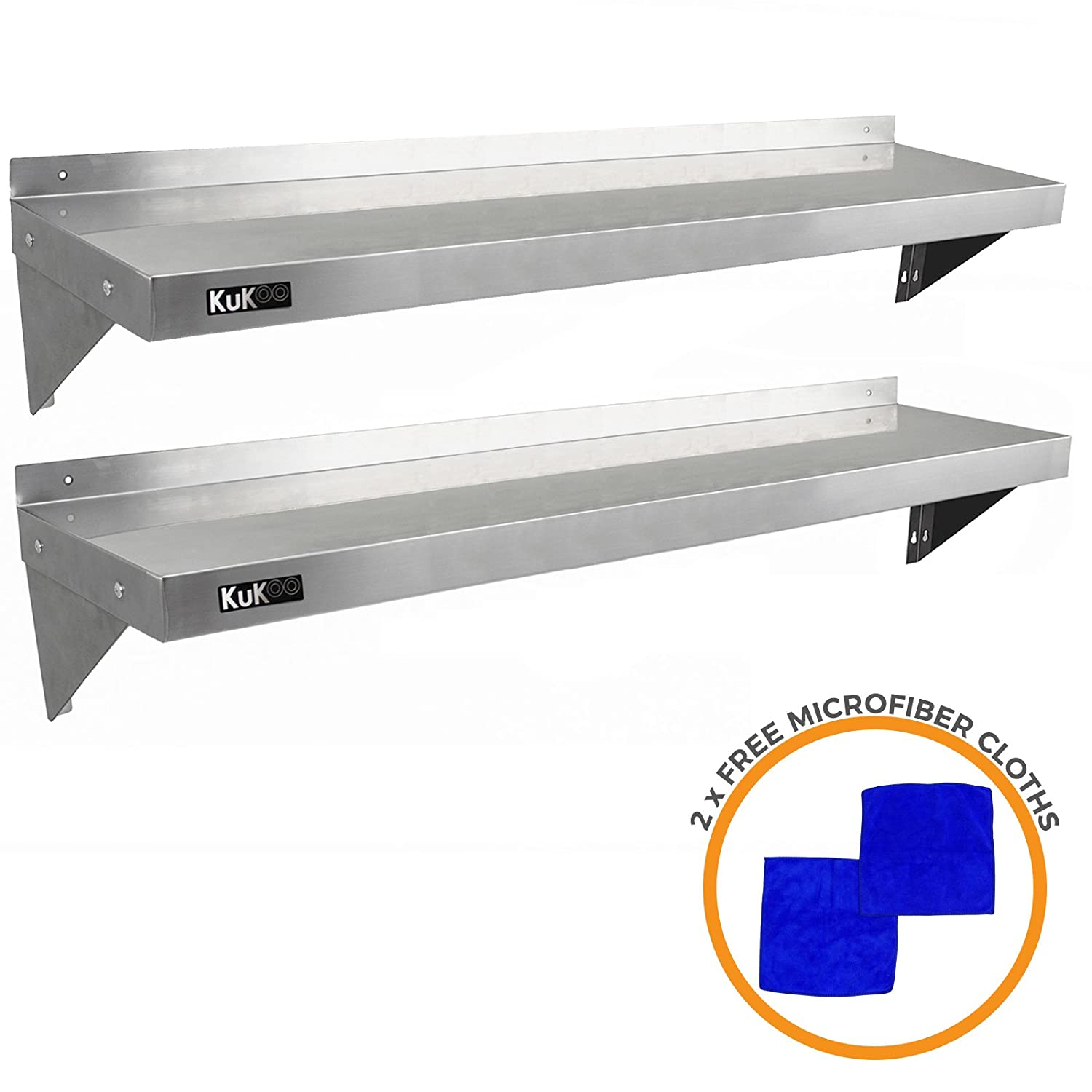 2 x kukoo commercial stainless steel kitchen wall shelf catering corrosion resistant free microfiber cloths 1400mm x 300mm amazon co uk welcome