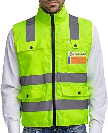 Warnweste Reflektierende Arbeitsweste Sicherheitsweste mit Reißverschluss Hohe