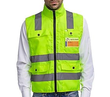 Chaleco reflectante profesional de seguridad, con neon amarillo, tiras reflectantes, cuatro bolsillos grandes con cremallera: Amazon.es: Bricolaje y ...