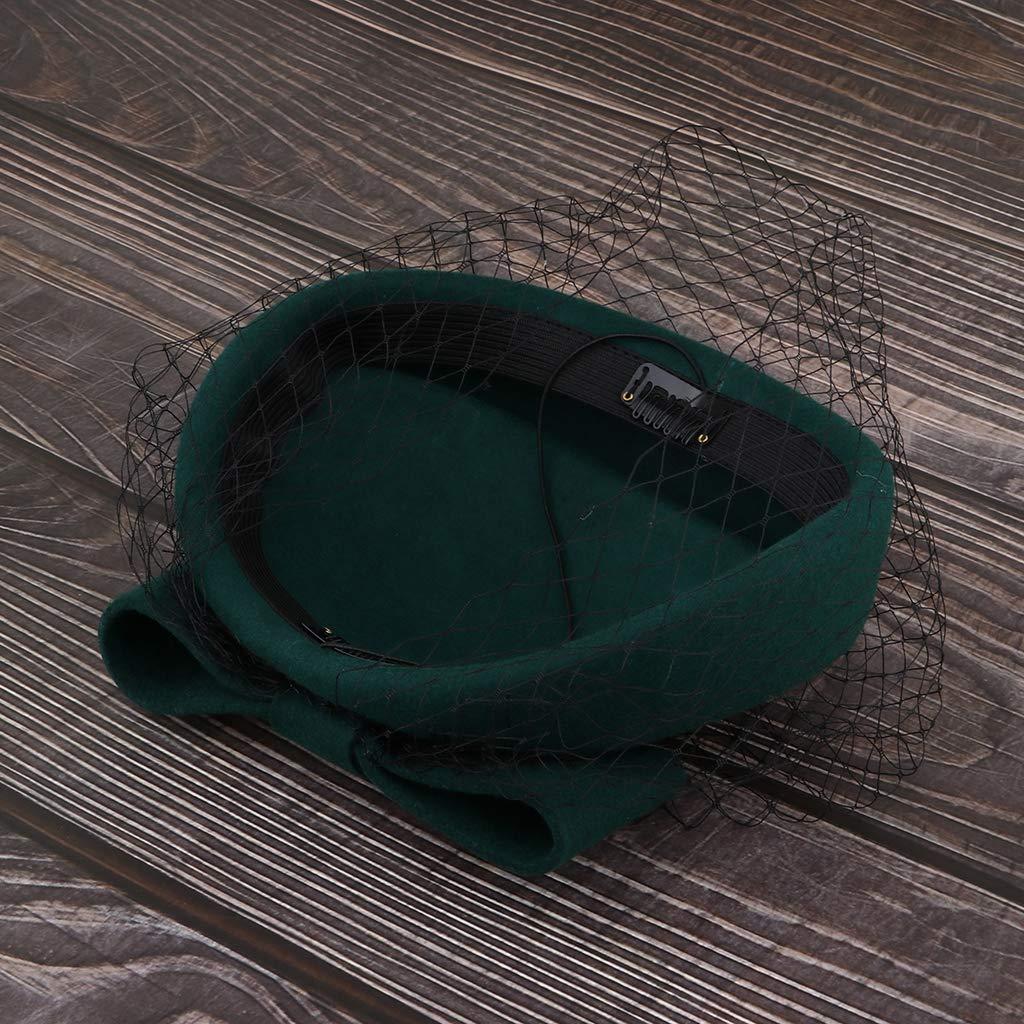 Baoblaze Pillbox Hut Hochzeit Hut Mit Schleier Vintage Bow Fascinator H/üte F/ür Frauen