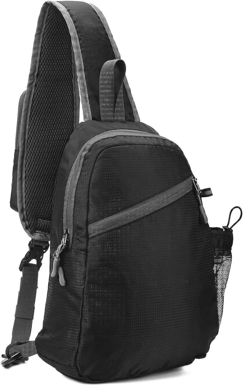 USHAKE Chest Sling Bag Shoulder Backpacks Bags Light-Weighted Crossbody Backpack for Men or Women to Travel Hiking Daypack