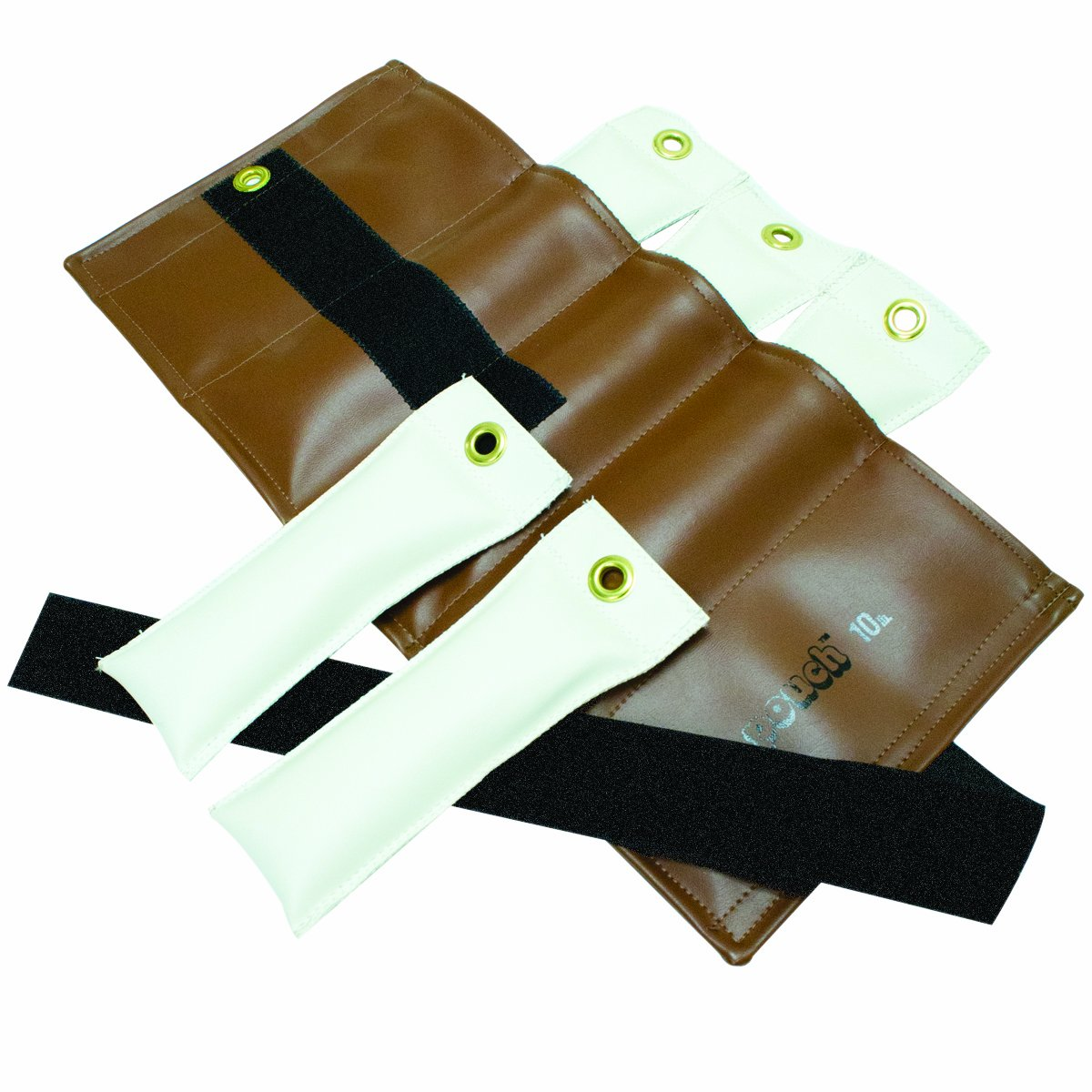 the Cuff 10-0302 Pouch Variable Wrist and Ankle Weight, 10 lb, 5 x 2 lb Inserts, Brown