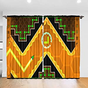 OTHERS Geometry Dash 2 Curtain 2 Panels 52 X 84 in Rod Pocket
