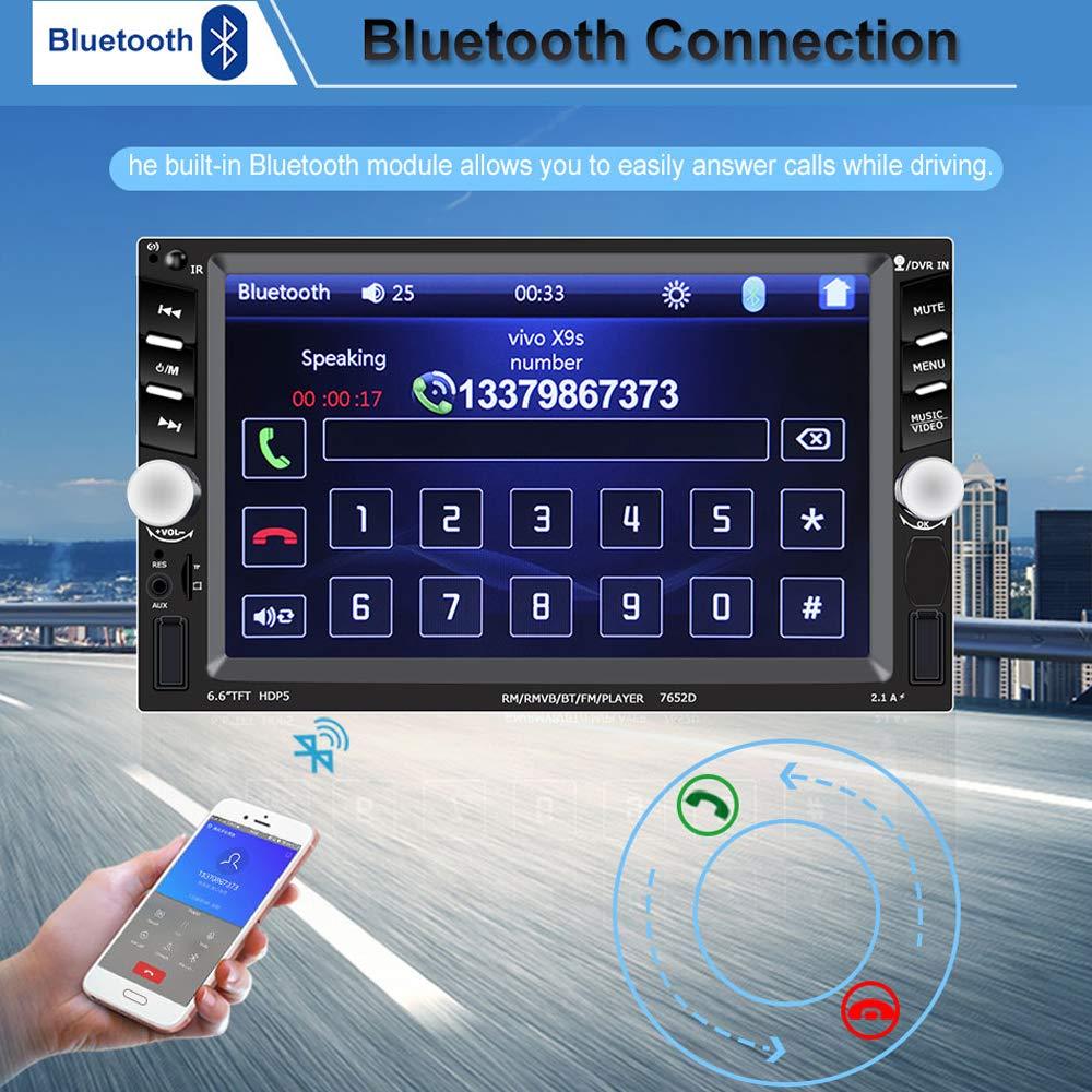 USB Head Unit BoomBoost 6.6  Touch Bluetooth 2 DIN Autoradio Stereo MP5 Spieler AUX//Fernbedienung R/ückfahrkamera
