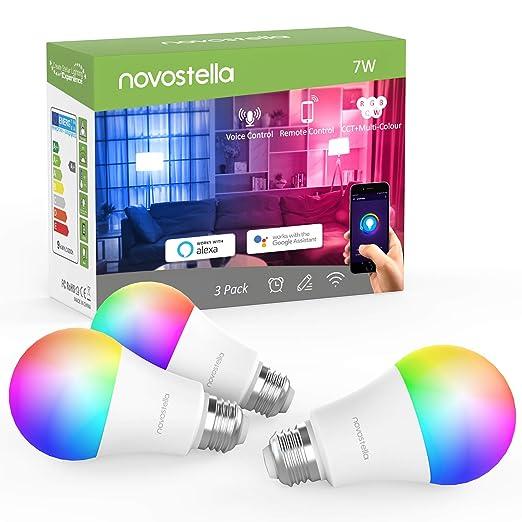 Bombilla Inteligente LED E27 RGB, Lámpara WiFi Ajustable (2700-6500K)+RGB Multicolor, Compatible con Alexa, Google Home 7W 600lm, No se Requiere Hub-3 ...
