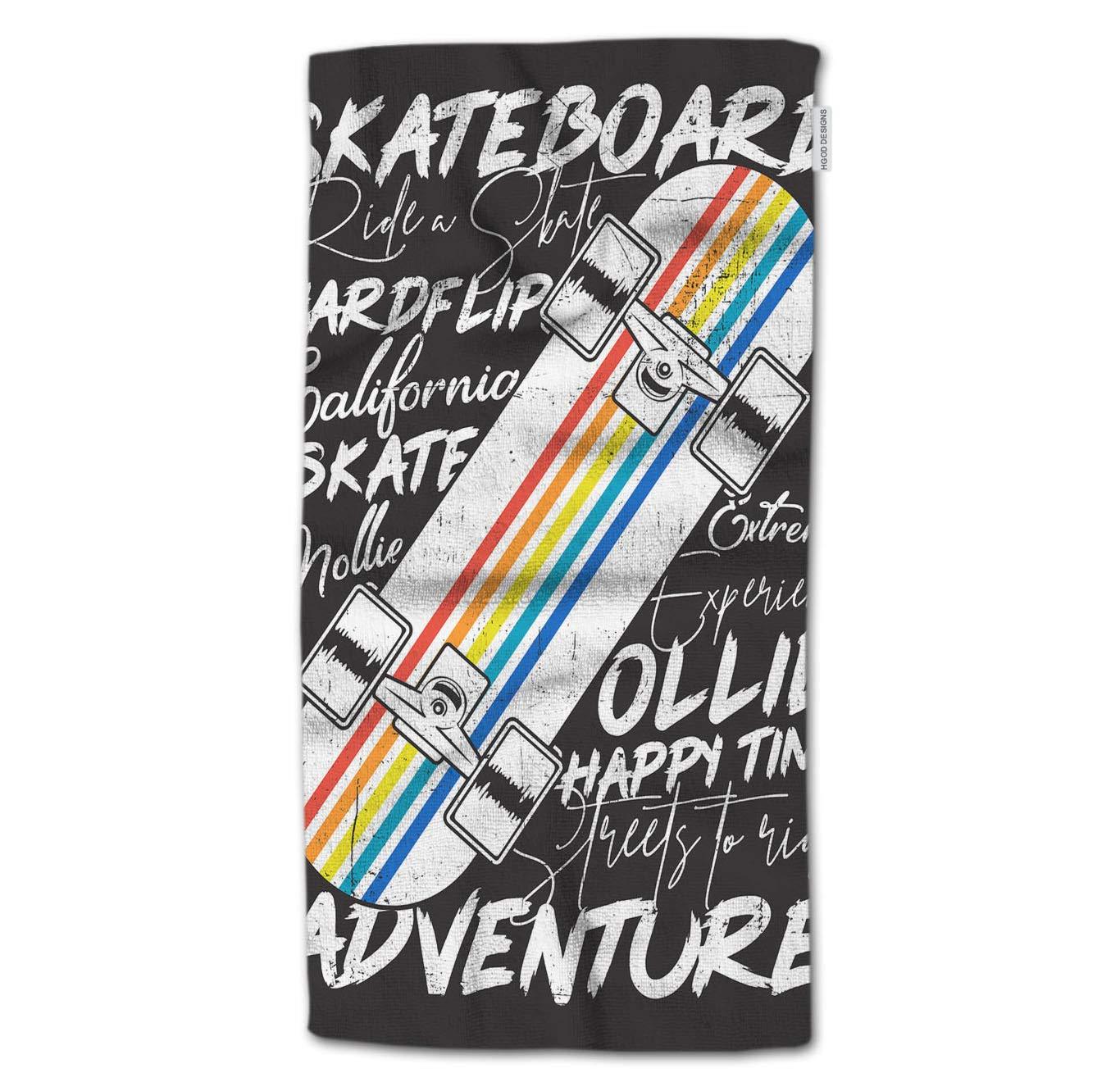 HGOD DESIGNS Bath Towel Skateboard,Colorful Skateboard Poster Design Bath Towel Throw Blanket Beach Towel 64'' Lx32 W