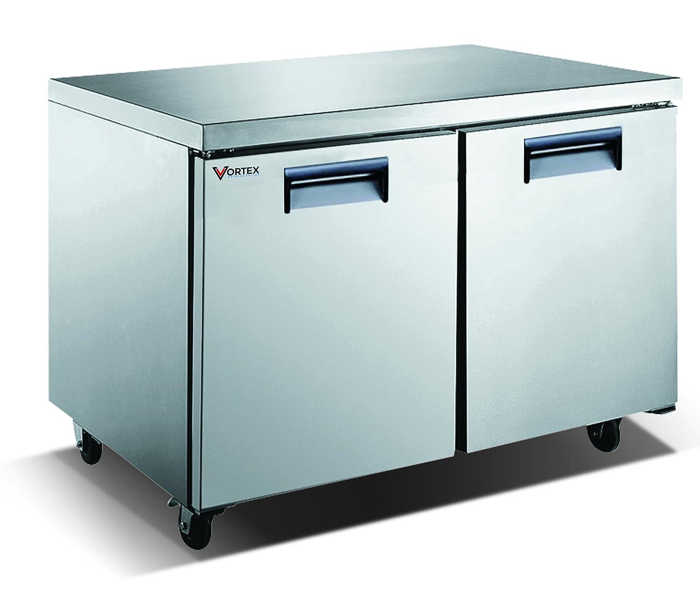 Ft. 12 Cu Commercial 2 Door 48 Under Counter Freezer Vortex Refrigeration