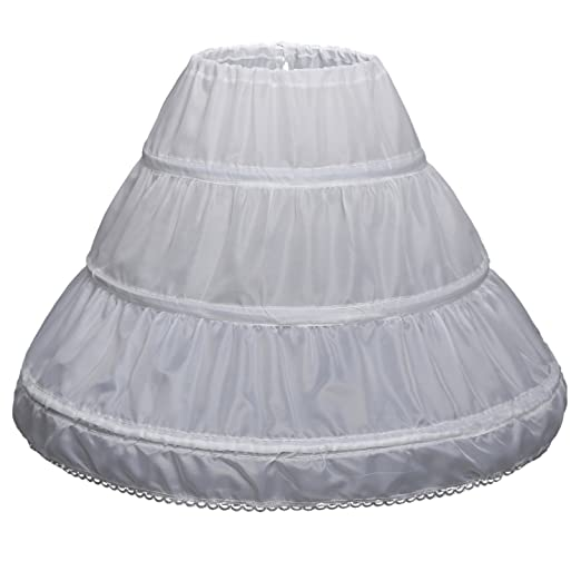 d25f56b1c Little Girls Hoop Skirt Petticoat Flower Girl Crinoline Underskirt (One Size,  White)
