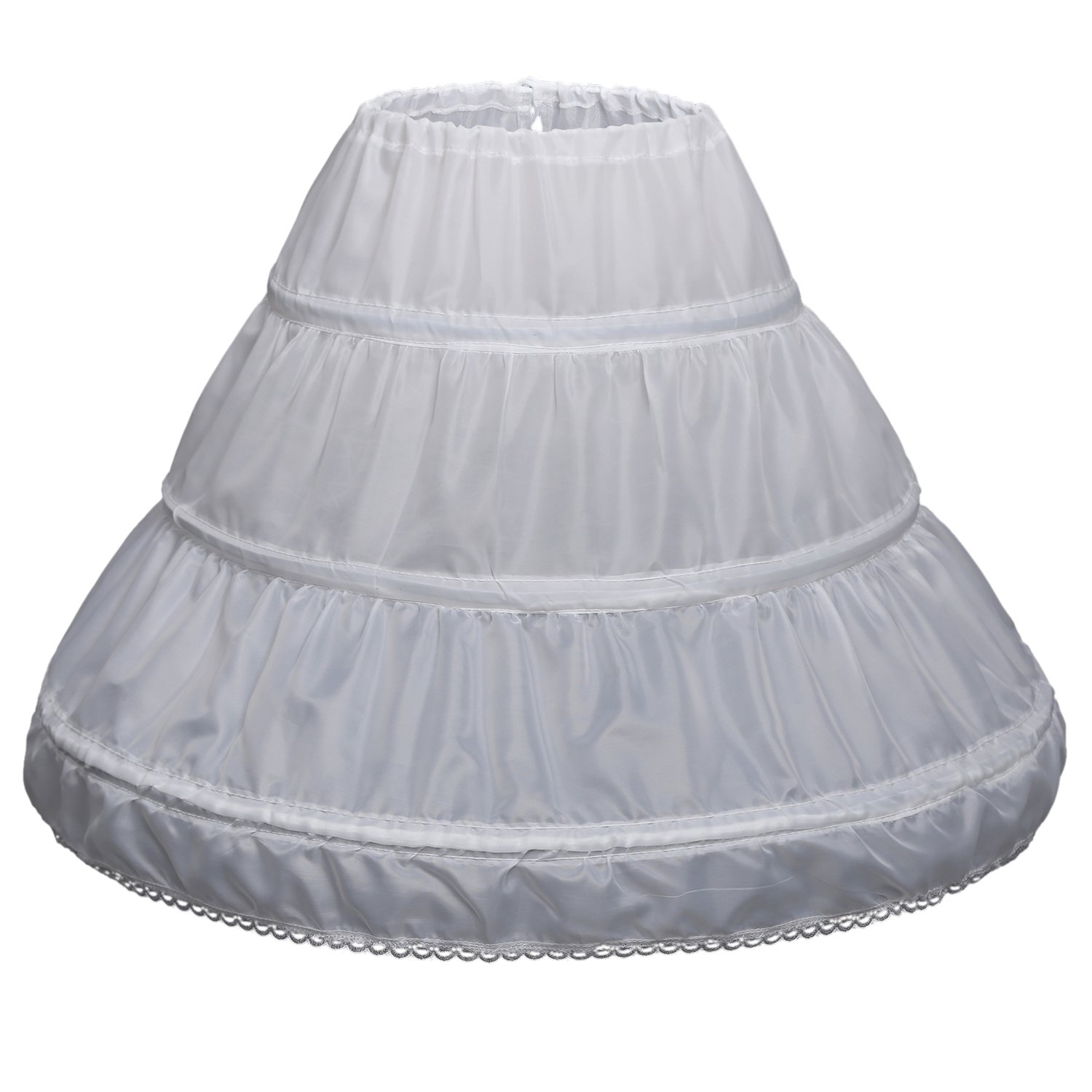 Carat Girls' 3 Hoops Petticoat Full Slip Flower Girl Crinoline Skirt(7-13 yrs,White)