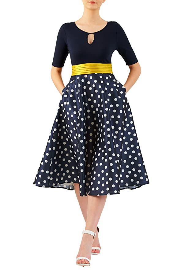 1940s Pinup Dresses for Sale  Polka dot mixed media dress $75.95 AT vintagedancer.com