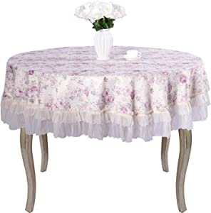 """Country Style lace Purple Grace Floral Design Round tablecloths Off White Diameter 90""""(tablecloths only)"""