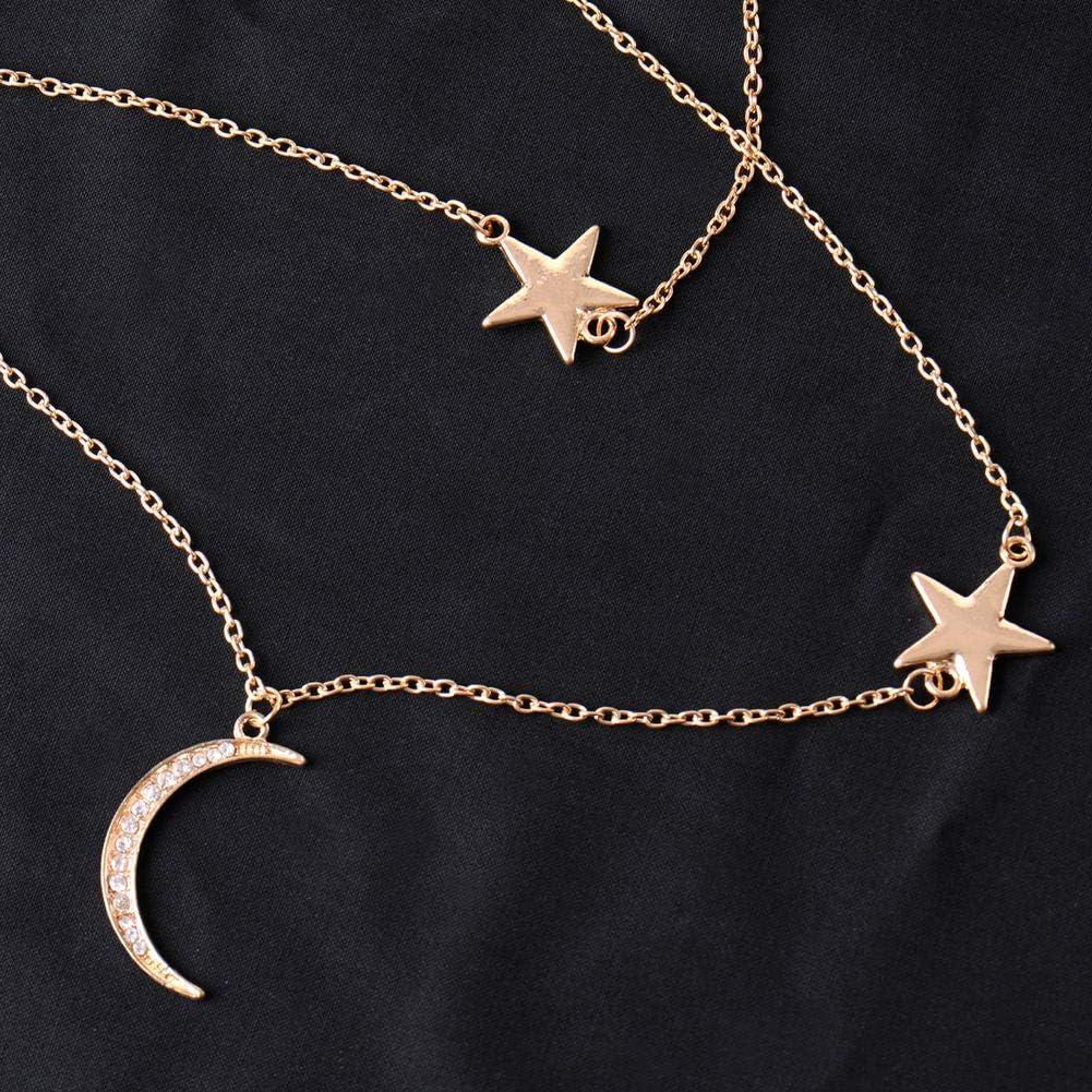 Luerme Collier pour Femmes /étoiles Simples et /él/égantes Diamonds Long Moon Collier cha/îne Clavicule Collier Dames Bijoux Cadeau Accessoires