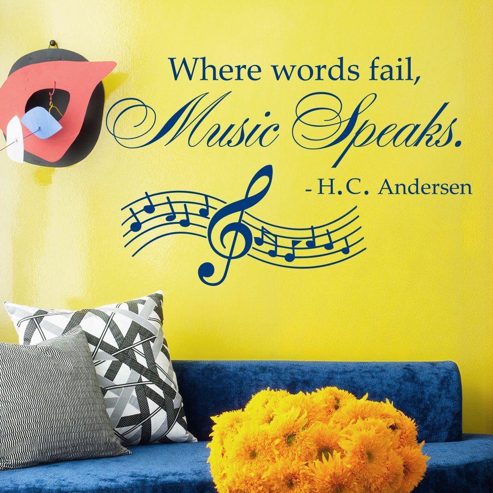 Amazon.com: Wall Decals Quotes Where Words Fail Music Speaks Treble ...