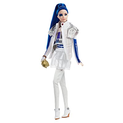 Barbie Collector: Star Wars R2-D2 X Barbie Doll with Blue Hair, 11.5-Inch Wearing Dome Skirt and Bomber Jacket, with Doll Stand and Certificate of Authenticity: Toys & Games