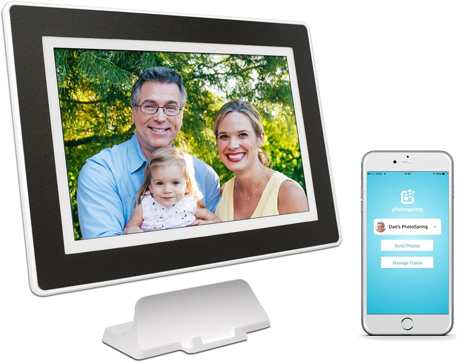 PhotoSpring (16GB) 10 inch WiFi Cloud Digital Picture Frame