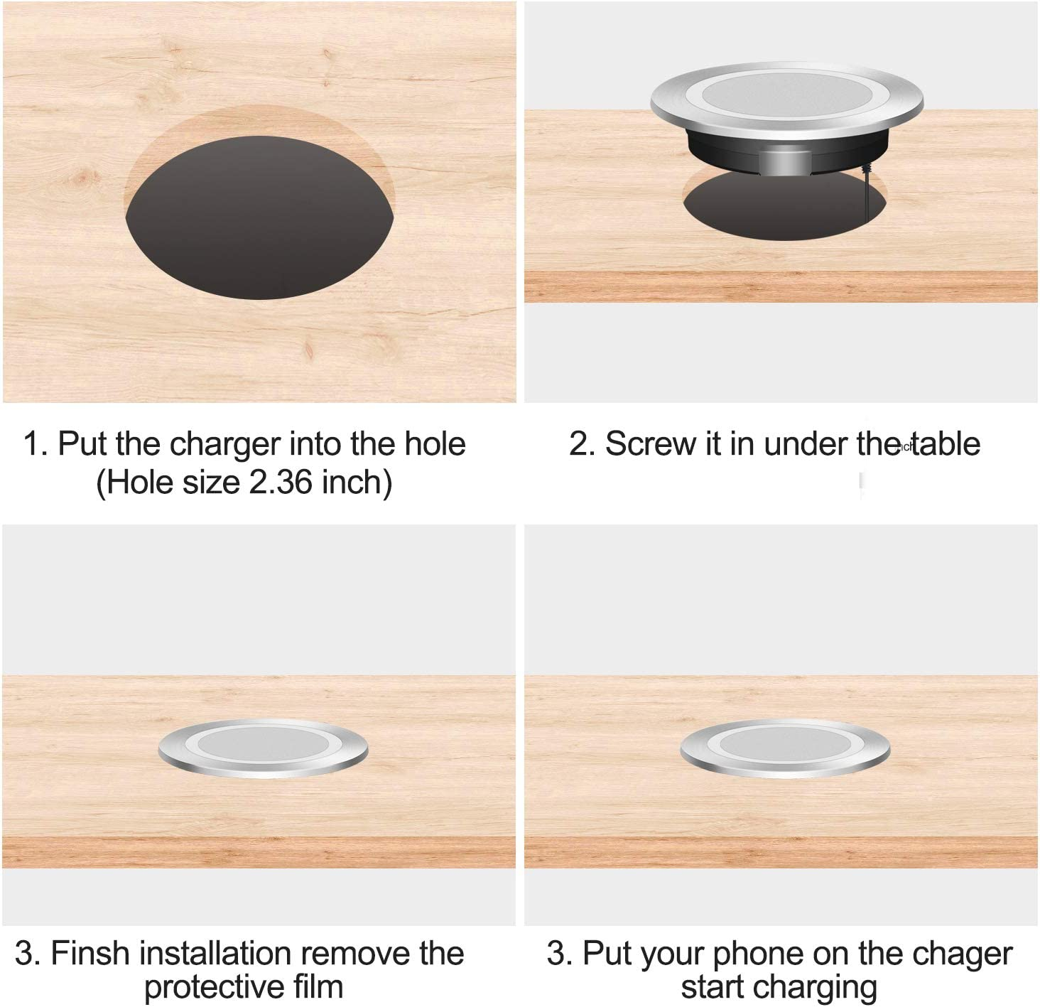 """Embedded on Desk EDL-18 Wireless Charger fit Standard-Sized Grommet Hole 2.36/"""" Fast Charging 10W//7.5W//5W Fast Charging for Qi Enabled Phones/& Devices. Silver Easy to Install"""