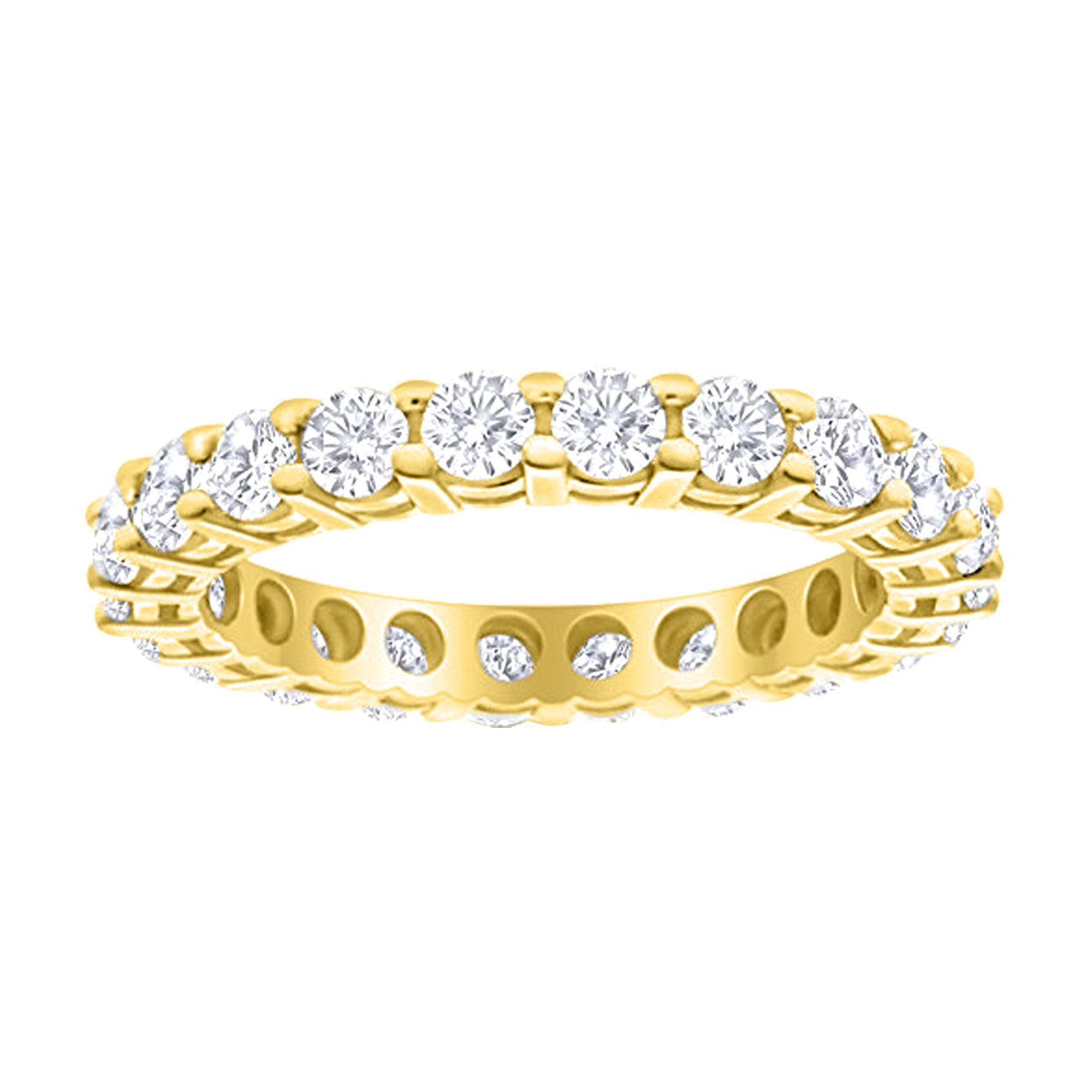 2 Carat (ctw) 14K Yellow Gold Round Diamond Ladies Eternity Wedding Anniversary Stackable Ring Band Luxury Collection (D-E Color VS1-VS2 Clarity)