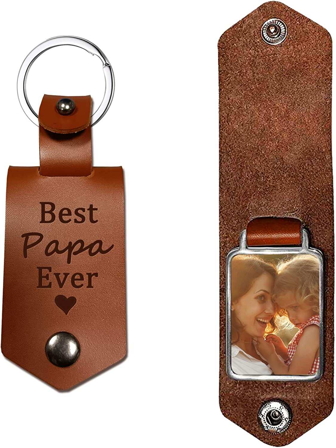 Leather Keychain-Dad Gifts-Best Papa Ever-Daddy Gifts from Daughter Son-Personalized Present for Papa Christmas Father's Day Birthday
