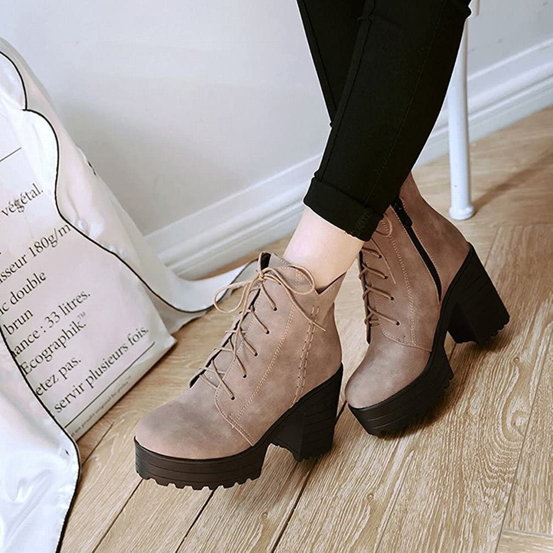 Agodor Womens Platform Lace up High Heels Ankle Boots with Block Heel Retro Shoes