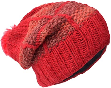 502518ef1f21c9 Little Kathmandu Woolen Patch Knitted Fleece Lined Multicoloured Beanie Hats  A