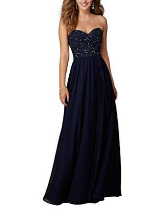 Special Bridal Sequin Sweetheart Neckline Chiffon Long Prom Dress Navy Blue Backless Evening Dress