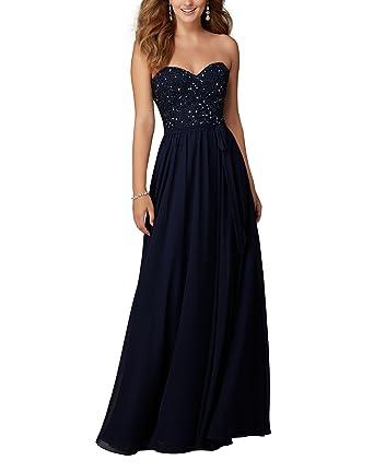 Special Bridal Sequin Sweetheart Neckline Chiffon Long Prom Dress Navy Blue Backless Evening Dress