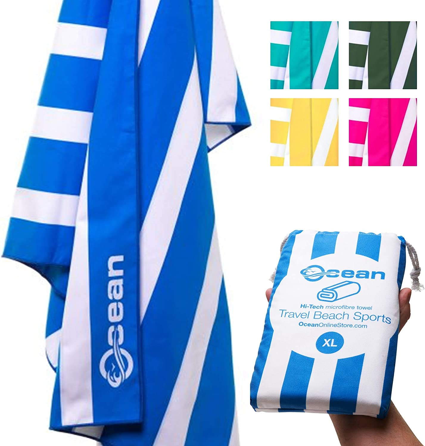 Ocean Microfiber Towel - Beach Towel - Travel Towel - Quick Dry Towel - Super Soft, Ultra Absorbent, Quick Dry, Lightweight, Compact, Ultra Sized, Sand Free, Includes Travel Pouch