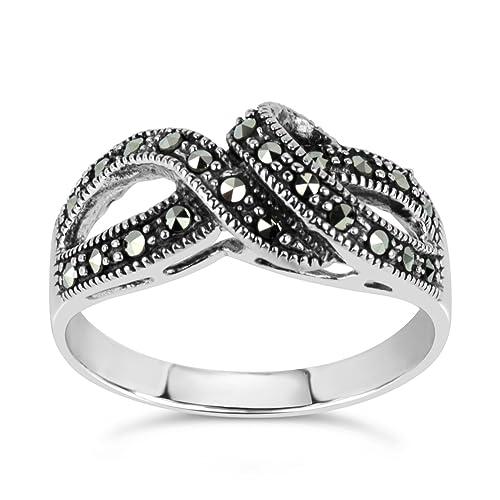 Sterling Silver Marcasite Swirl Ring, Featuring Swarovski Marcasite