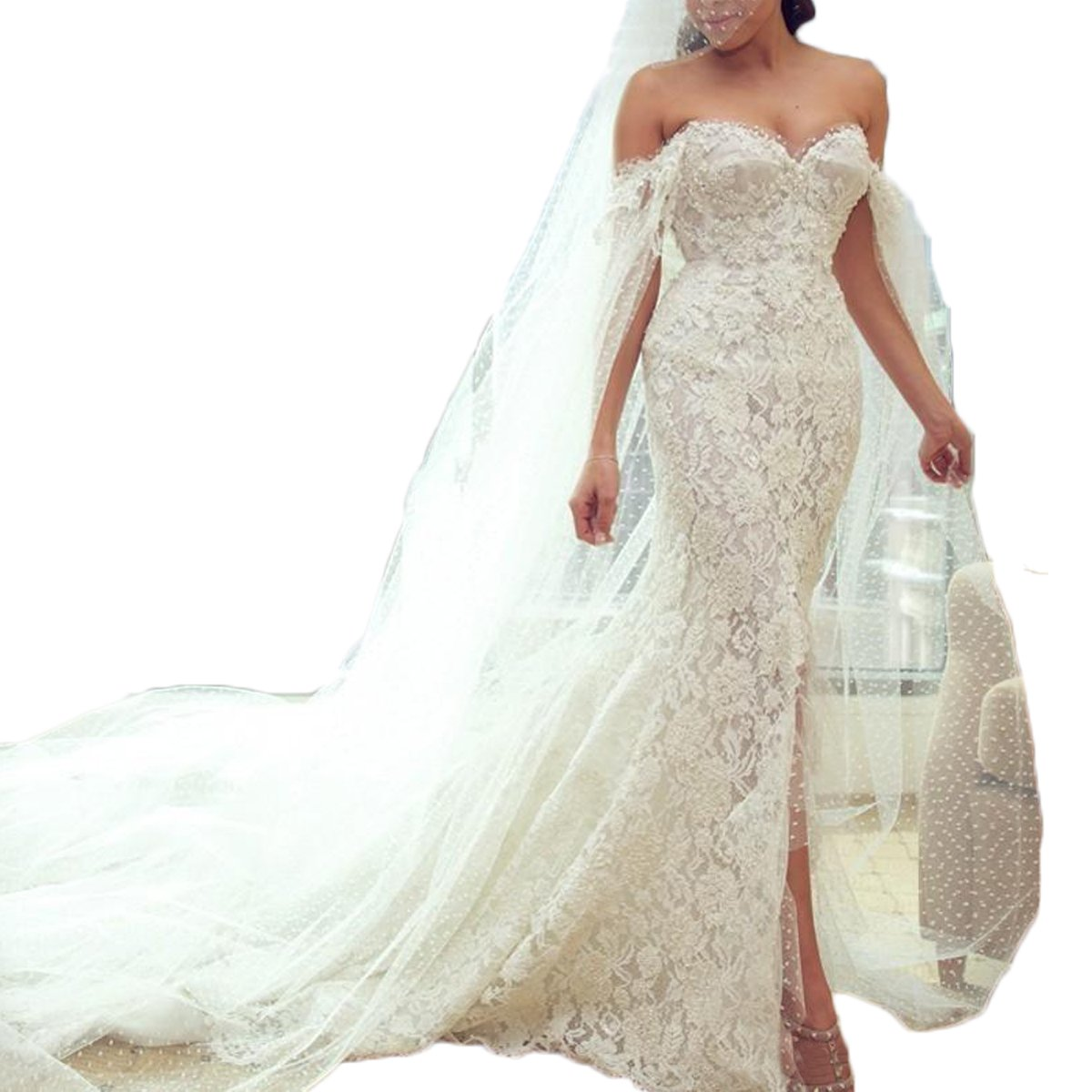 Thrsaeyi Womens Sweetheart Lace Mermaid Wedding Dresses Pearls With