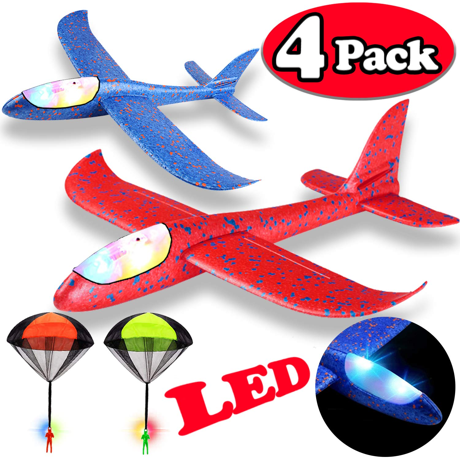 Airplane Toys, 2P 12'' LED Foam Airplane Glider Model Airplane Kits+2P Parachute Toys Children's Flying Toys Hand Throwing, Outdoor Sports Birthday Party Favors for Kids Boys Girls(Random Color)
