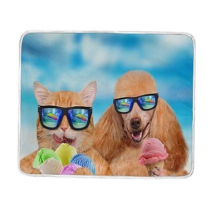 Manta Feliz verano gato y perro come hielo crema grande manta mantas para sofá sofá tela