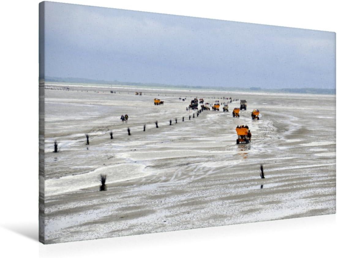 CALVENDO Lienzo de 90 cm x 60 cm Horizontal, de Nordsee Imagen sobre Bastidor, Listo en Lienzo auténtico, impresión en Lienzo: con la carruaje de Caballos en vatios Natural, Natural