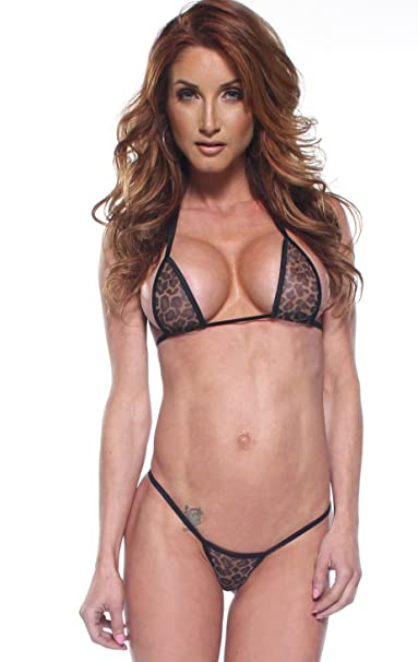 4fb210d4f3 Amazon.com  Leopard Mesh Sexy Micro G-String Thong Bikini 2 Piece Animal  Print See Through  Clothing