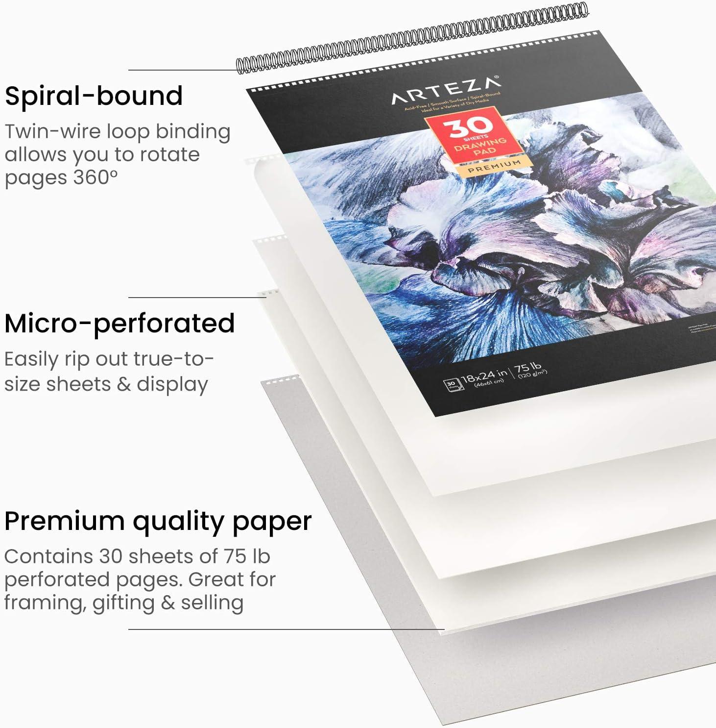 Skizzenblock mit Spiralbindung f/ür viele trockene Medien wei/ßes schweres Papier 120 g//m/² mit Mikroperforation Zeichenpapier 46 x 61 cm Arteza Zeichenblock 30 Blatt