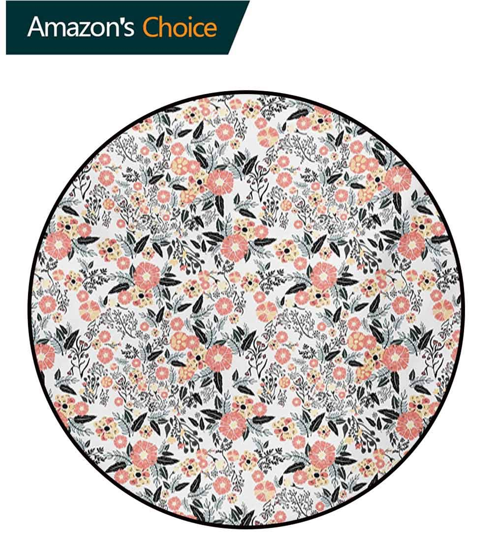 RUGSMAT Leaf Modern Machine Round Bath Mat,Abstract Garden Flowers Fresh Spring Nature Inspired Retro Style and Romantic Blossoms Non-Slip No-Shedding Kitchen Soft Floor Mat,Diameter-71 Inch by RUGSMAT (Image #6)