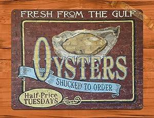 SIGNCHAT Tin Sign Oyster Brick Louisiana Seafood Kitchen Rustic Wall Decor Metal Poster Wall Art Decor Tin Sign 8X12 Inches