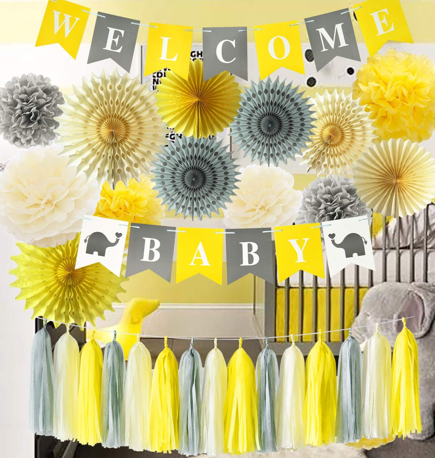 Furuix Yellow Baby Shower Decorations Neutral Yellow Grey Elephant Baby Shower Decorations Gray Yellow Nursery Decor Welcome Baby Banner/Gender Neutral Baby Decor