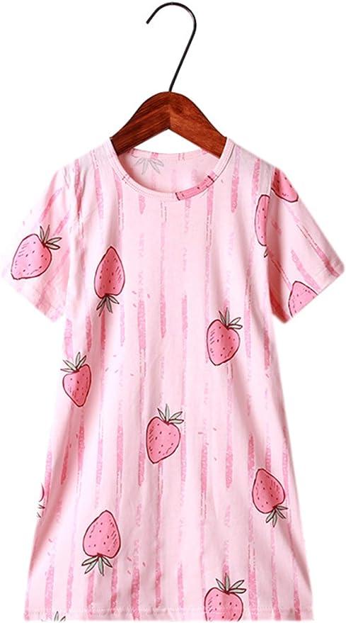 HOYMN - Camisón de manga corta para niña de algodón princesa de ...