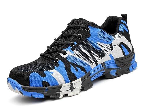 Zapatos Trabajo Hombre Zapatillas de Seguridad Puntera de Acero Mujer Botas Proteccion Excursionismo Caminar Sneakers Antideslizante Plataforma Camuflaje de ...