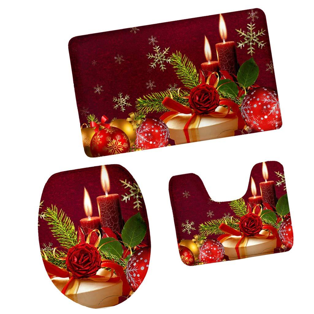 3pcs A Badteppich rutschfest /& Waschbar aus Flanell f/ür Weihnachten Haus Deko Set Badematten Set