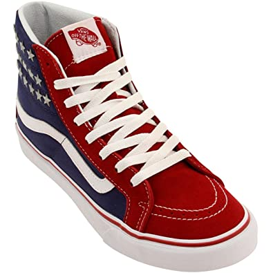 Womens SK8 Hi Slim Studded Stars Red Blue Textile Trainers 8 US