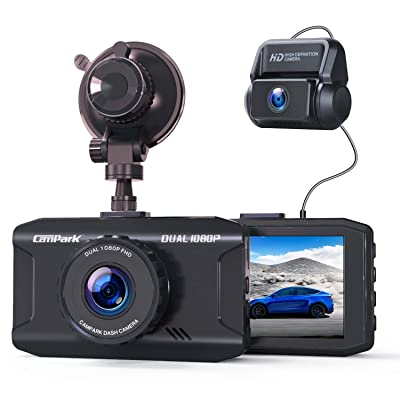 Campark Dash Cam Front and Rear Dual 1080P Car Camera with 340° Wide Angle Recording 3 Inches Night Vision Loop Recording G-Sensor, Max Support 128GB: Car Electronics